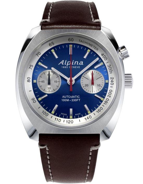 Alpina Startimer Pilot Heritage Chronograph blue dial brown leather strap