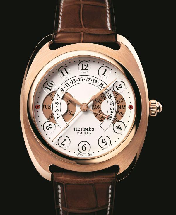 Hermès Dressage Annual calendar automatic watch in rose gold