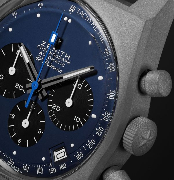 El Primero Revival A384 'Edge of Space' Limited Edition Automatic Chronograph 37mm Titanium and Rubber Watch, Ref. No. 97.A384.400/27.C821