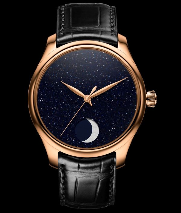 H. Moser & Cie. Endeavour Perpetual Moon Concept Aventurine, reference 1801-0402, 5N red gold model, aventurine dial, black alligator strap, limited edition of 50 pieces