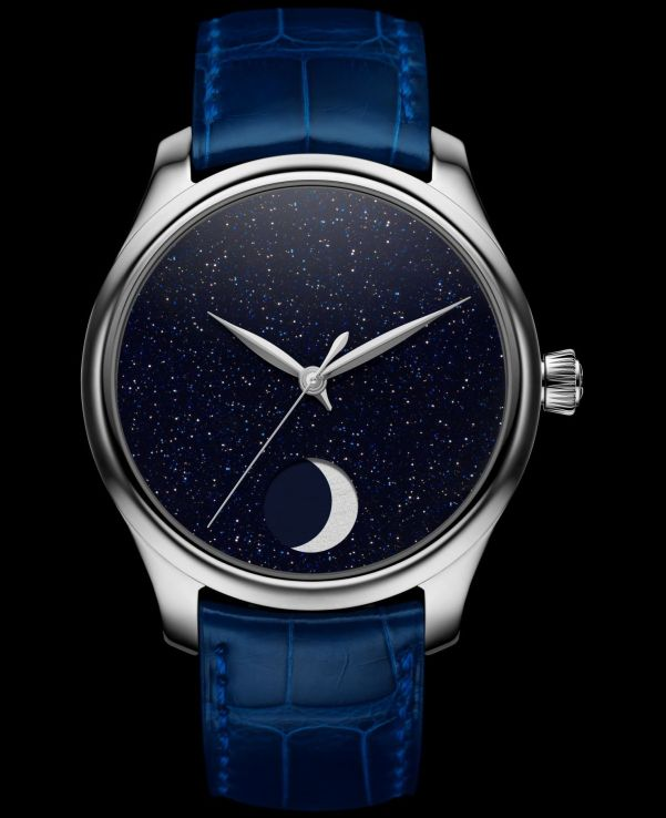 H. Moser & Cie. Endeavour Perpetual Moon Concept Aventurine, reference 1801-1201, steel model, aventurine dial, midnight blue alligator strap, limited edition of 50 pieces