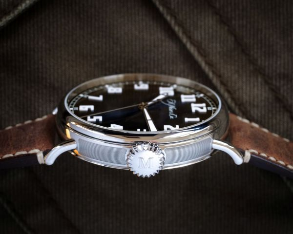 H. Moser & Cie. Heritage Centre Seconds Funky Blue - steel case with tapered lugs and a notched crown