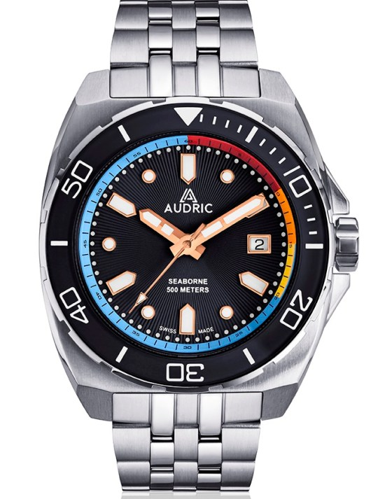 AUDRIC SEABORNE Swiss Made Automatic Diving Watch black dial
