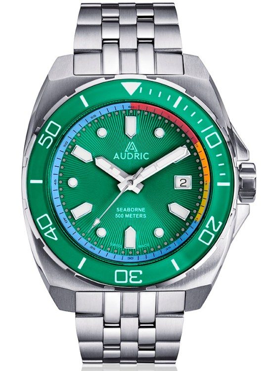 AUDRIC SEABORNE Swiss Made Automatic Diving Watch green dial