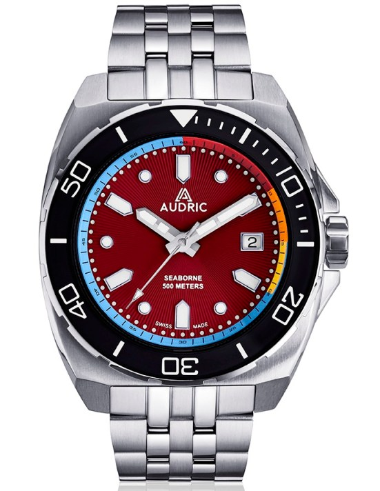 AUDRIC SEABORNE Swiss Made Automatic Diving Watch red dial