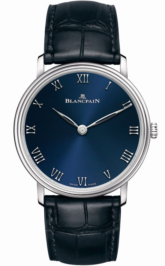 Blancpain Villeret Ultraplate Platinum, Boutique Edition with Blue Dial – (Villeret Collection, Ref. 6605-3440-55A)