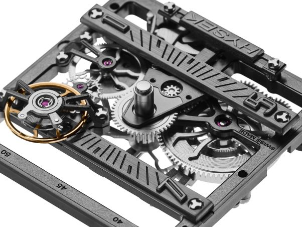 HYSEK Furtif 44 mm Squelette Watch square shaped manual wound skeleton movement by watchmaker Laurent Besse