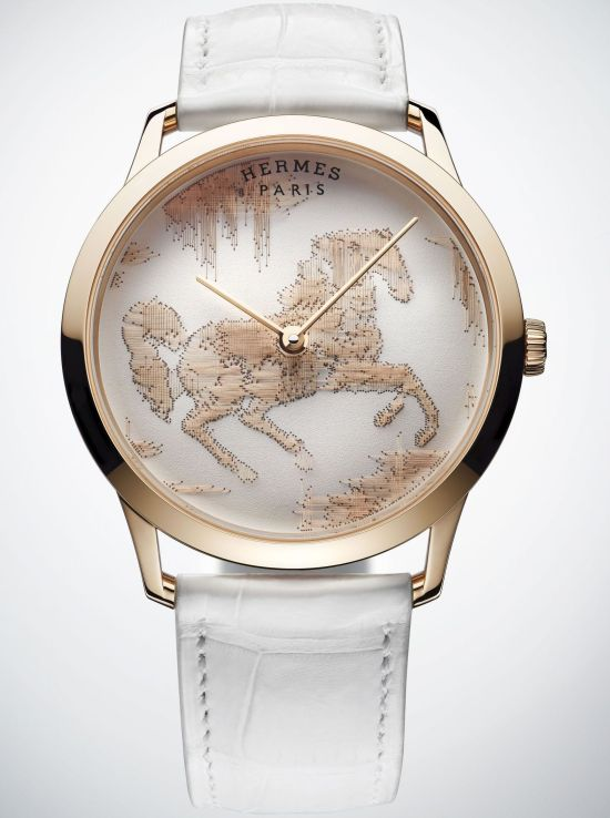 Hermès Slim d'Hermès Cheval Ikat Limited Edition watch with rose gold case
