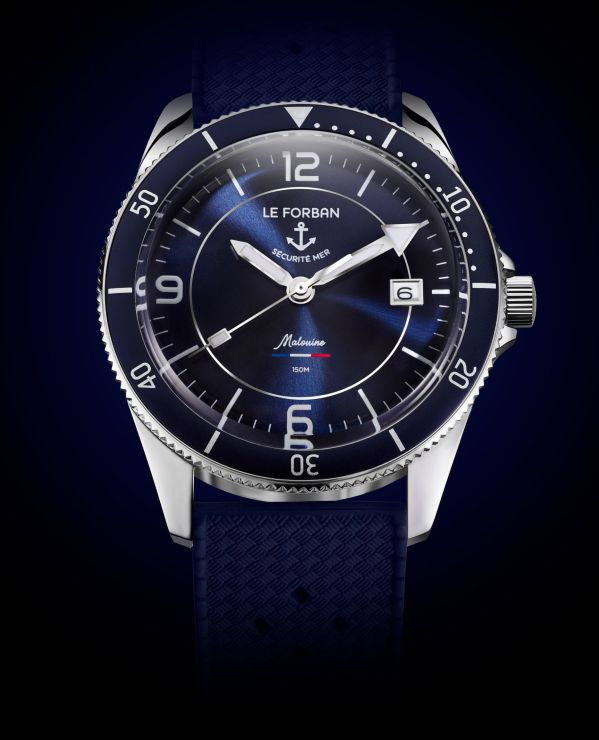 Blue dial version - Le Forban Sécurité Mer 'Malouine' Limited Edition diving watch. 150 meters water resistance. Stainless steel case with 38.4 mm diameter. Automatic Miyota 8215 movement