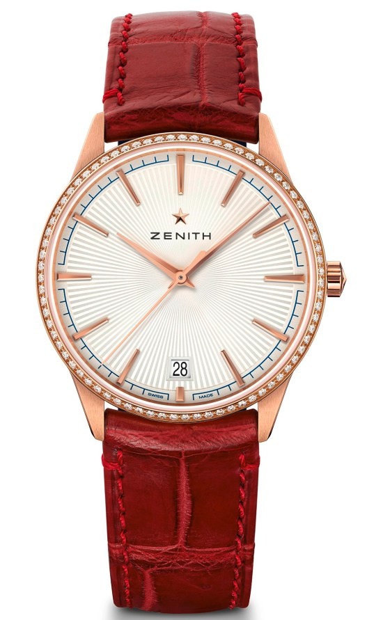 zenith ELITE CLASSIC - 36MM rose gold case diamond set bezel
