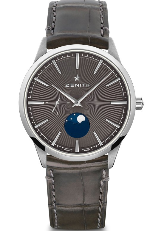 zenith ELITEMOONPHASE– 40.5MM stainless steel case grey toned dial