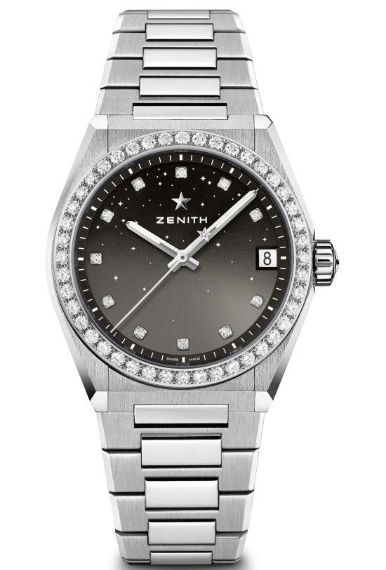 Zenith DEFY Midnight model 5 gradient grey dial diamond set bezel