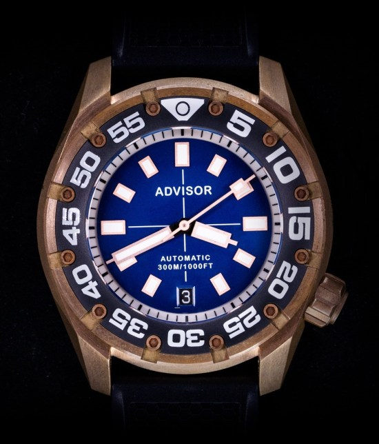 Advisor SUPA Diver Bronze Swiss Automatic Watch blue dial