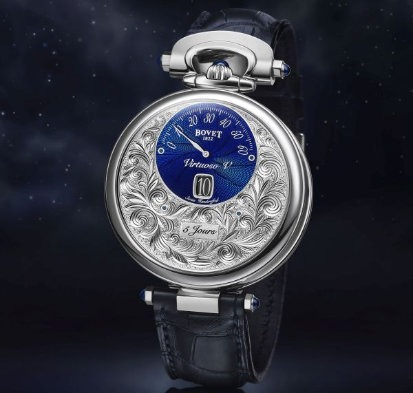 BOVET 1822 Virtuoso V New Model with Blue guilloche, « Fleurisanne » Hand-Engraved Dial (Amadéo Fleurier Complications)
