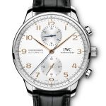 IWC Schaffhausen Portugieser Chronograph, Ref. IW371604: Stainless-steel case, silver-plated dial, gold-plated hands and appliqués, black alligator leather strap.