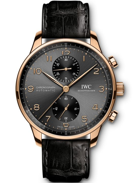 IWC Schaffhausen Portugieser Chronograph, Ref. IW371610: 18-carat 5N gold case, slate-coloured dial, gold-platedhands, 18-carat gold appliqués, black alligator leather strap by Santoni.