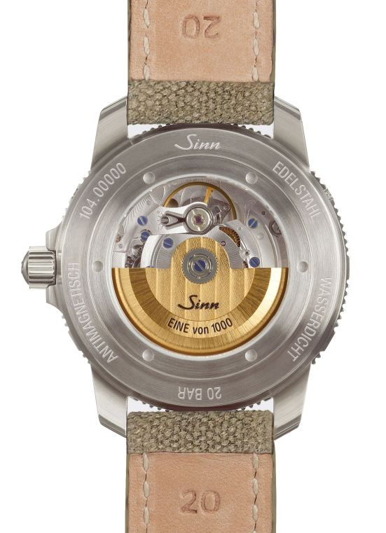 caseback view of SINN 104 St Sa A B E Limited Edition watch