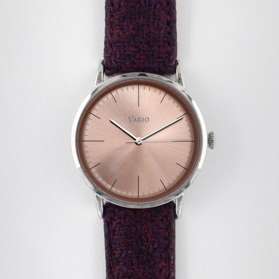 VARIO Eclipse SunStone Champagne Handwound Dress Watch on Harris Tweed Watch Strap