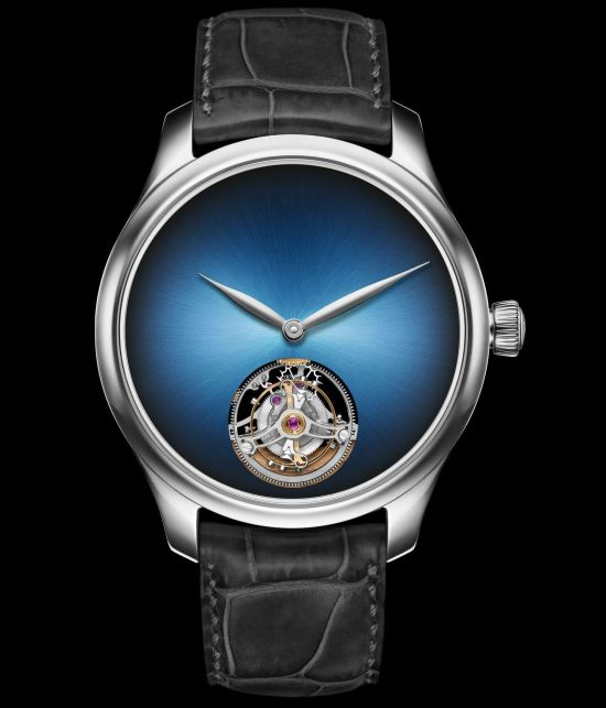 H. Moser & Cie. Endeavour Tourbillon Concept Reference 1804-0221, white gold model, Funky Blue fumé dial, grey alligator leather strap, limited edition of 50 pieces