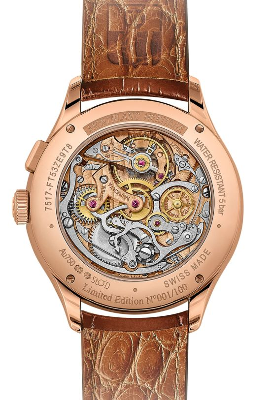 Montblanc Heritage Manufacture Pulsograph Limited Edition Rose gold model with smoked tobacco-brown dial