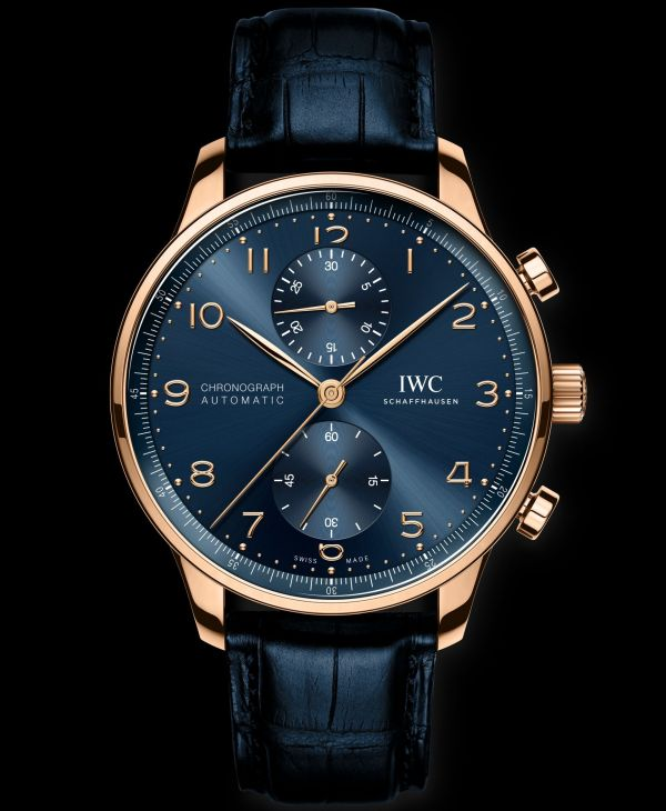 IWC Schaffhausen Portugieser Chronograph, Ref. IW371614 Boutique Edition: 18-carat 5N gold case, blue dial, gold-plated hands, 18-carat gold appliques, blue alligator leather strap.