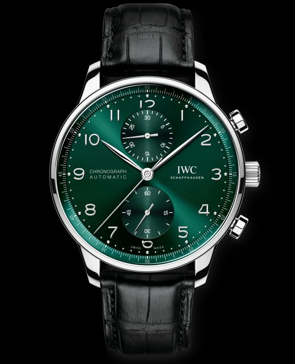IWC Schaffhausen Portugieser Chronograph, Ref. IW371615: Stainless steel case, green dial, rhodium-plated hands and appliques, black alligator leather strap.