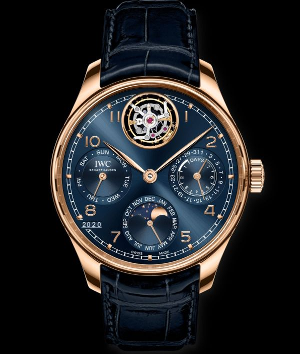 IWC Schaffhausen Portugieser Perpetual Calendar Tourbillon, Ref. IW504504 Boutique Edition: 18-carat Armor Gold® case, blue dial, gold-plated hands, 18-carat gold appliques, blue alligator leather strap by Santoni.