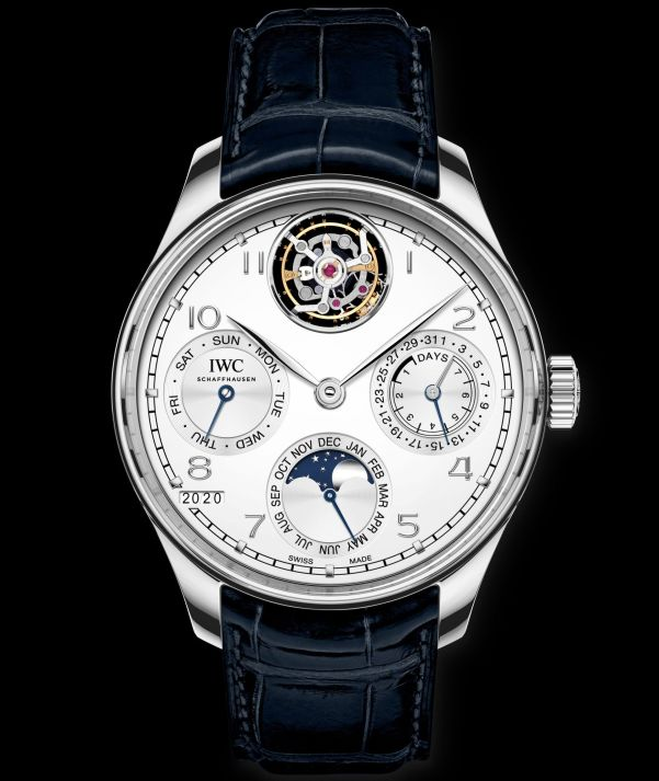 IWC Schaffhausen Portugieser Perpetual Calendar Tourbillon, Ref. IW504505: Platinum case, silver-plated dial, rhodium-plated hands and appliques, blue alligator leather strap by Santoni.