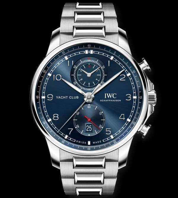 IWC Schaffhausen Portugieser Yacht Club Chronograph, Ref. IW390701: Stainless steel case, blue dial, rhodium-plated hands and appliques, stainless steel bracelet.