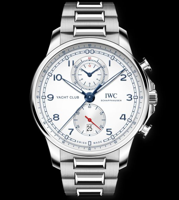 IWC Schaffhausen Portugieser Yacht Club Chronograph, Ref. IW390702: Stainless steel case, silver-plated dial, blue hands and appliques, stainless steel bracelet.