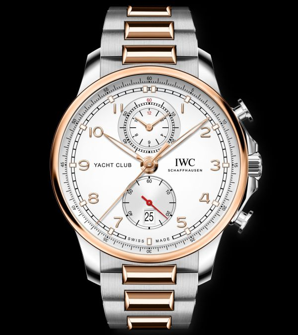 IWC Schaffhausen Portugieser Yacht Club Chronograph, Ref. IW390703: Stainless steel case, silver-plated dial, gold-plated hands and 18-carat 5N gold appliques, bracelet made of 18-carat 5N gold and stainless steel.