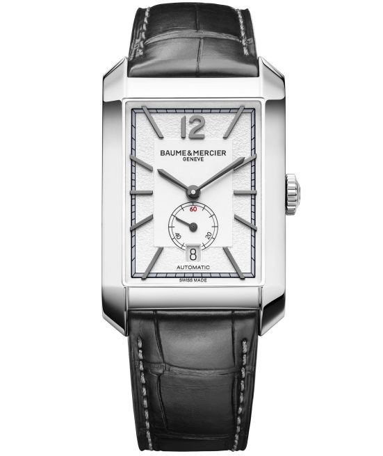 Baume & Mercier Hampton Automatic Small Seconds with Date, Large – Steel Case, Opaline and grained silver-coloured, Alligator Strap, Reference M0A10528