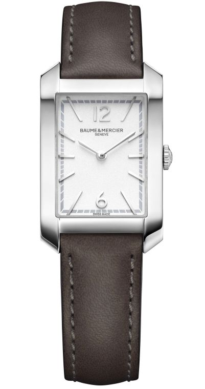 Baume & Mercier Hampton Quartz Small – Steel Case, Opaline silver-coloured dial, Calfskin Strap, Reference M0A10471