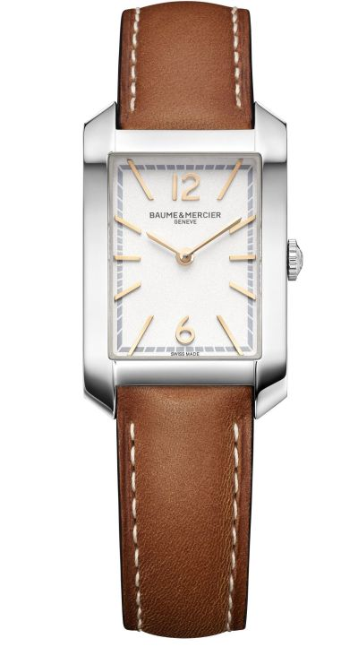 Baume & Mercier Hampton Quartz Small – Steel Case, Opaline silver-coloured dial, Calfskin Strap, Reference M0A10472