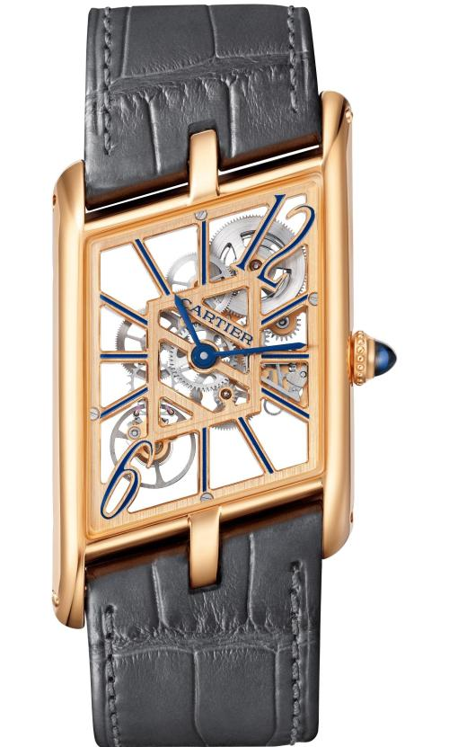 Cartier Privé Collection, the New Tank Asymétrique Skeleton Watch: Extra-large model, 47,15 x 26.2 mm, thickness: 7.82 mm; 18K pink gold; Crown set with a sapphire cabochon; Grey and brown alligator leather straps; Limited and numbered edition of 100 pieces