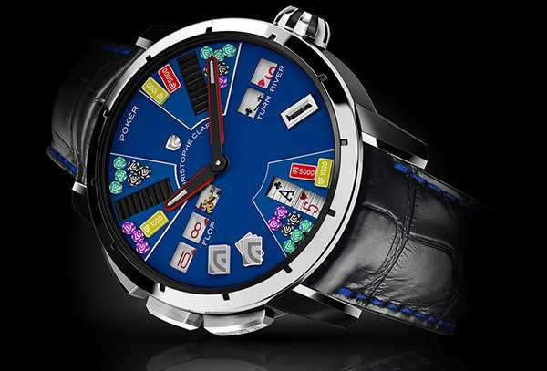 Christophe Claret Poker, New Model with Black PVD Titanium Case and Blue PVD Titanium Dial