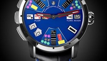 Christophe Claret Poker, New Model with Black PVD Titanium Case and Blue PVD Titanium Dial