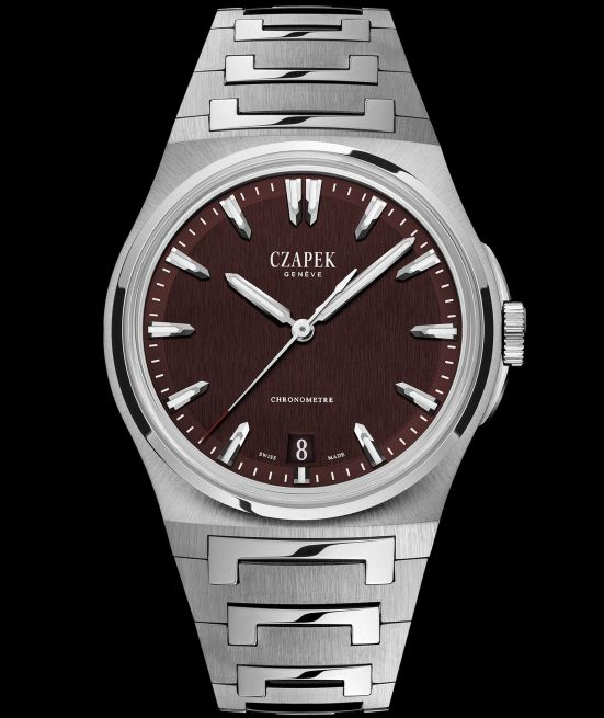Czapek & Cie Antarctique, The Terre Adélie Model with Steel case, Burgundy Dial and Integrated stainless steel bracelet