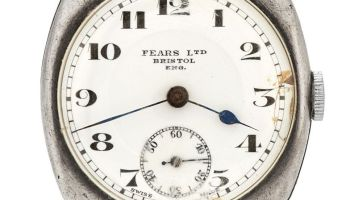 FEARS vintge watch, circa 192, with sterling silver cushion case