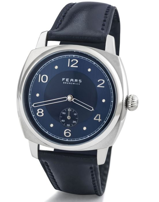 Fears Brunswick - Fears Blue dial on a Fears Blue Bristol Leather strap - pack shot (angle)