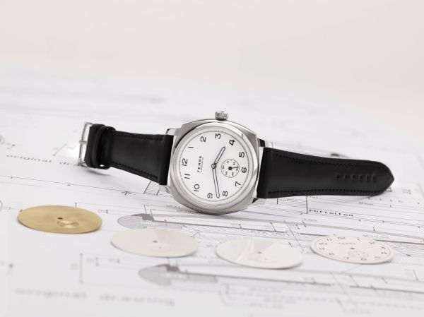 Fears Brunswick - Polar White dial on a Bristol Black strap - on side with case technical drawing and dial samples