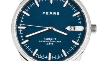 Fears Redcliff Date - Fears Blue dial on a Tan Brown goat's skin strap