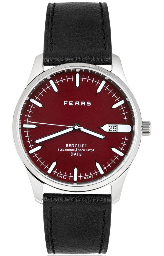 Fears Redcliff Date - Passport Red dial on a Black goat's skin strap