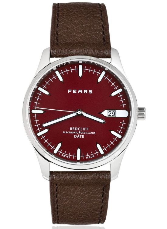 Fears Redcliff Date - Passport Red dial on a Mink Brown goat's skin strap