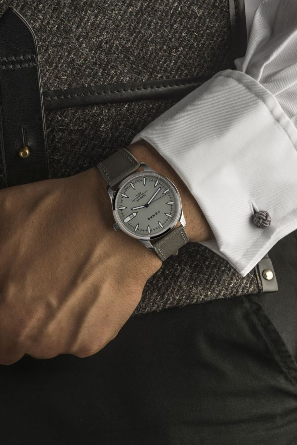 Fears Redcliff Date - _Pebble_ Grey dial on Pebble Grey strap - on wrist