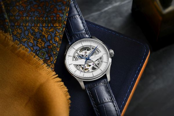 Hamilton Jazzmaster Skeleton 40mm, Reference H42535610: Stainless steel case, Skeletonized white dial, Blue calf leather strap with pin buckle