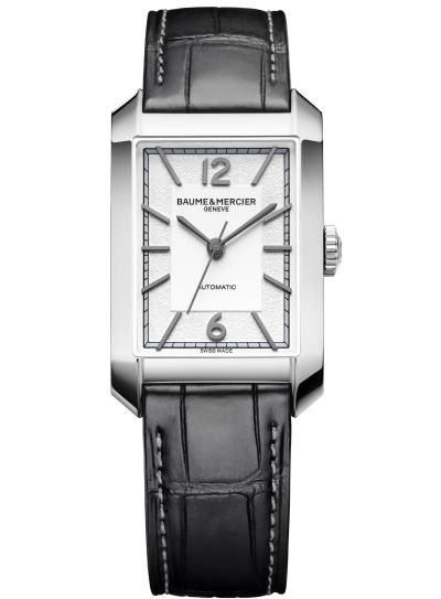 Baume & Mercier Hampton Automatic Medium – Steel Case, Opaline and grained silver-coloured dial, Alligator Strap, Reference M0A10522