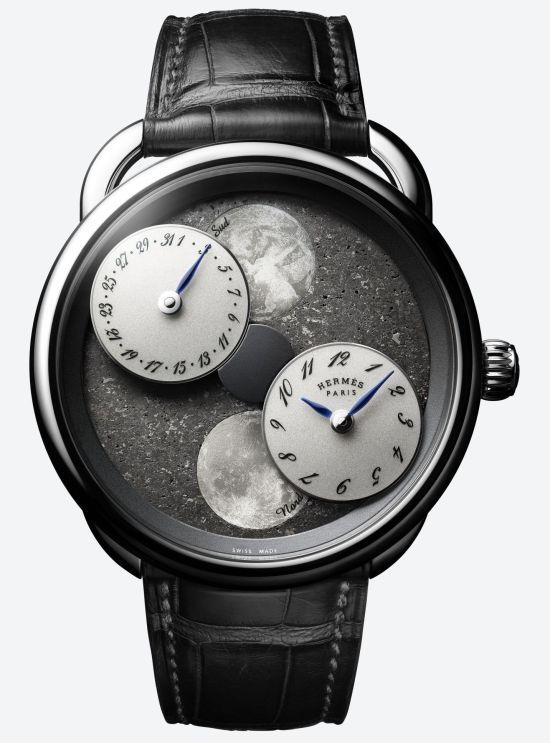 Hermès ARCEAU L'heure de la lune, New Models - with white gold case and Black Sahara meteorite dial