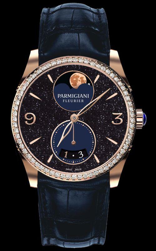 Parmigiani Fleurier Tonda New Edition - Tonda Métropolitaine aventurine rose gold case, diamond set bezel, moon-phase