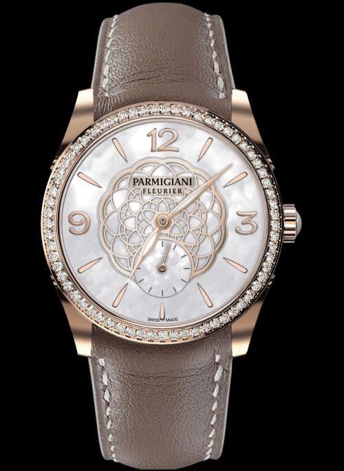 Parmigiani Fleurier Tonda New Edition - Tonda Selene 36 Rose Gold Set White MOP small seconds